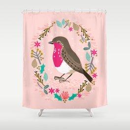 European Robin by Andrea Lauren  Shower Curtain