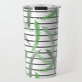 Stripes and Sprigs Travel Mug