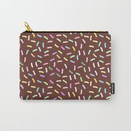 chocolate Glaze with sprinkles. Brown abstract background Carry-All Pouch