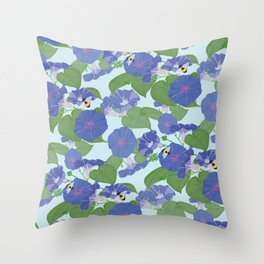 Glory Bee - Vintage Floral Morning Glories and Bumble Bees Throw Pillow