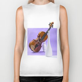 Still life with violin and white vases on a purple Biker Tank