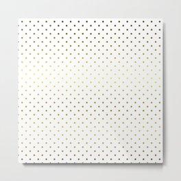 Small Gold Polka Dot Spots on White Metal Print