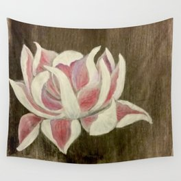 White and Pink Lotus Wall Tapestry