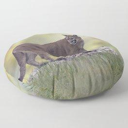Florida panther or cougar on a log Floor Pillow