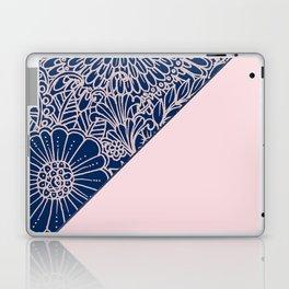 Blush pink navy blue hand drawn modern floral Laptop & iPad Skin