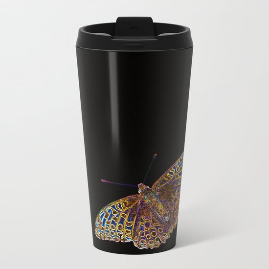 Butterfly on a black background Metal Travel Mug