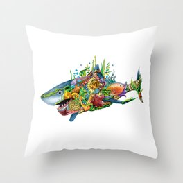 Colored Sea Shark Throw Pillow