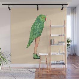 Green parrot Wall Mural