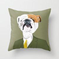 english bulldog Throw Pillows featuring English Bulldog by drawgood
