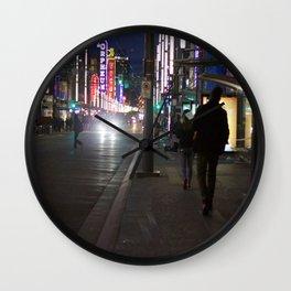 Granville St after dark 1 Wall Clock