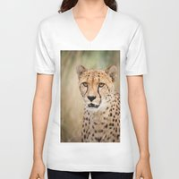 cheetah V-neck T-shirts featuring Cheetah by Simon's Photography