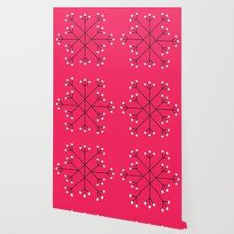 Mod Snowflake Hot Pink Wallpaper