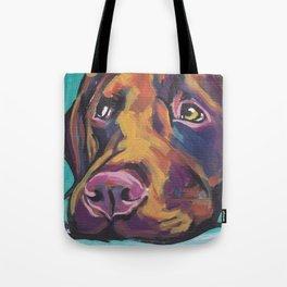 Fun Chocolate Lab Dog bright colorful Pop Art Labrador Tote Bag