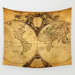 Vintage World Map 1752 Wall Tapestry