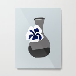 Vase with Pansy Metal Print
