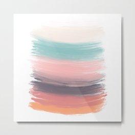 Modern pastel trendy acrylic brushstrokes spring orange turquoise pink Metal Print