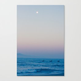 Boats, Ocean, Mountains and the Moon Canvas Print