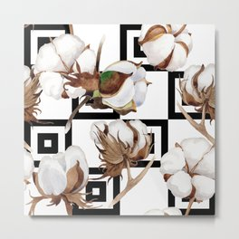 Cotton Flower Pattern 05 Metal Print
