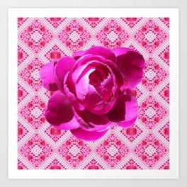 FUCHSIA  PINK PEONY PATTERNED ART Art Print