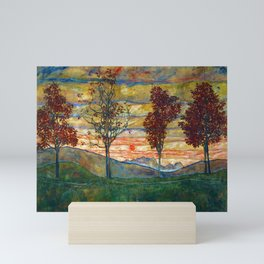 Four Trees with Red Leaves at Sunrise landscape painting by Egon Schiele Mini Art Print