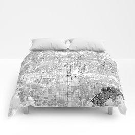 Las Vegas White Map Comforters