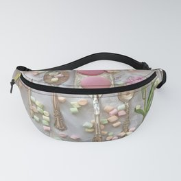 Shabby Chic Peonies Macarons and Vintage Spoon Kitchen Art Fanny Pack