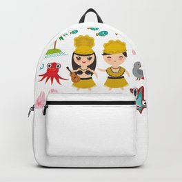 Hawaiian Hula Dancer Kawaii boy girl, set of Hawaii symbols with a guitar ukulele Backpack