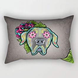 Great Dane with Floppy Ears - Day of the Dead Sugar Skull Dog Rectangular Pillow