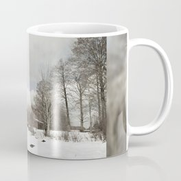dilapidated wooden house cottage in winter Coffee Mug