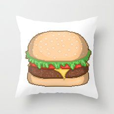 Cheeseburger Pixel Throw Pillow