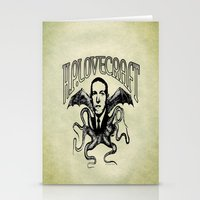 lovecraft Stationery Cards featuring H.P. LOVECRAFT by Bili Kribbs