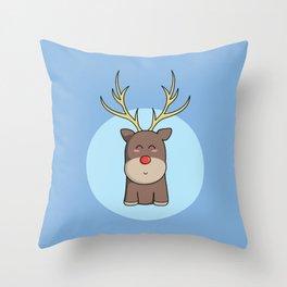 Cute Kawaii Christmas Reindeer Throw Pillow