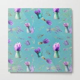 Summer Flower Provence- Lavender Flowers pattern Metal Print