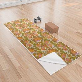 Orange, Pink Flowers and Green Leaves 1960s Retro Vintage Pattern Yoga Towel