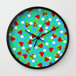 Strawberries on blue Wall Clock