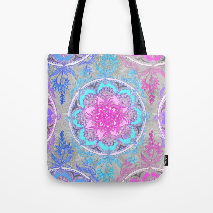 Pink Purple And Turquoise Super Boho Doodle Medallions Tote Bag