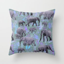 Sweet Elephants in Purple and Grey Throw Pillow