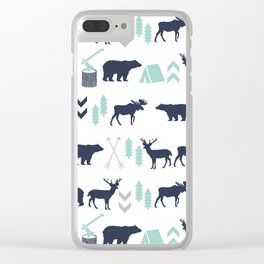 Camper pattern minimal nursery basic grey navy mint white camping cabin chalet decor Clear iPhone Case