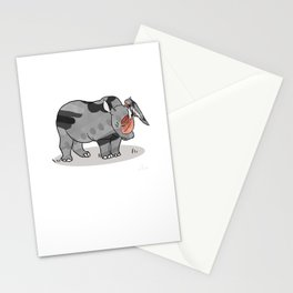 Rhinoceros & Parrot, Funny Wild Animal Graphic, Black & White with Copper Metallic Accent, Cartoon s Stationery Cards