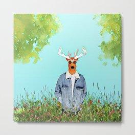 Deer in the wild field Metal Print