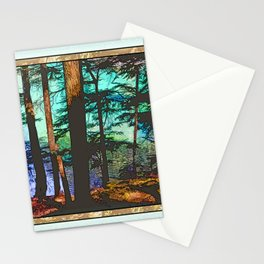 MOUNTAIN LAKE THROUGH HEMLOCK TREES Stationery Cards