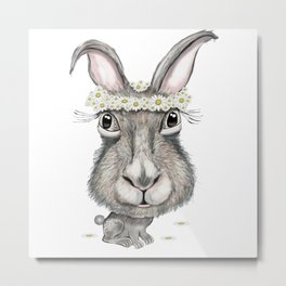 Rabbit with Flower Metal Print