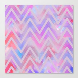 Geometrical pink teal lilac watercolor chevron Canvas Print
