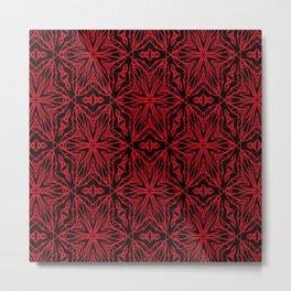 Black and red geometric flowers 5006 Metal Print