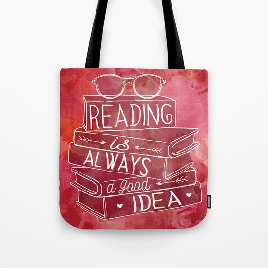 Reading is Always a Good Idea - Red Tote Bag