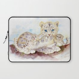 Snow leopard family Laptop Sleeve