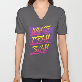 Wake Pray Slay (Sunset Retro) Unisex V-Neck