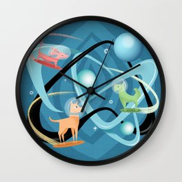 Atomic Rocket Powered Space Dogs Wall Clock