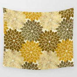 Golden Petals Pattern Wall Tapestry