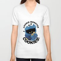 cookies V-neck T-shirts featuring COOKIES! by SwanniePhotoArt